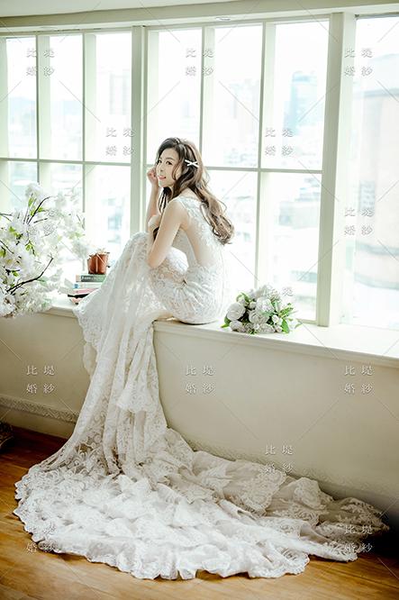 比堤婚紗 推薦新人:小銘&小小 透膚白色蕾絲