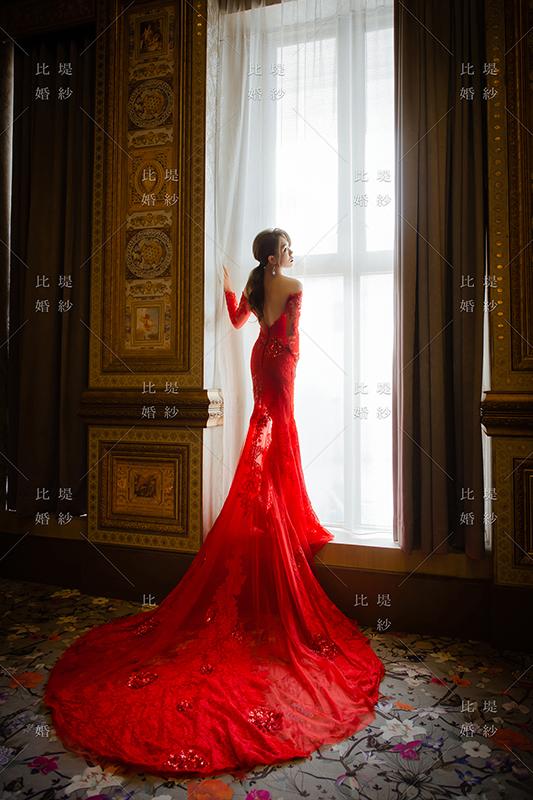 拍婚紗 比堤婚紗 推薦新人:惟惟&KiKi 紅色魚尾晚禮服