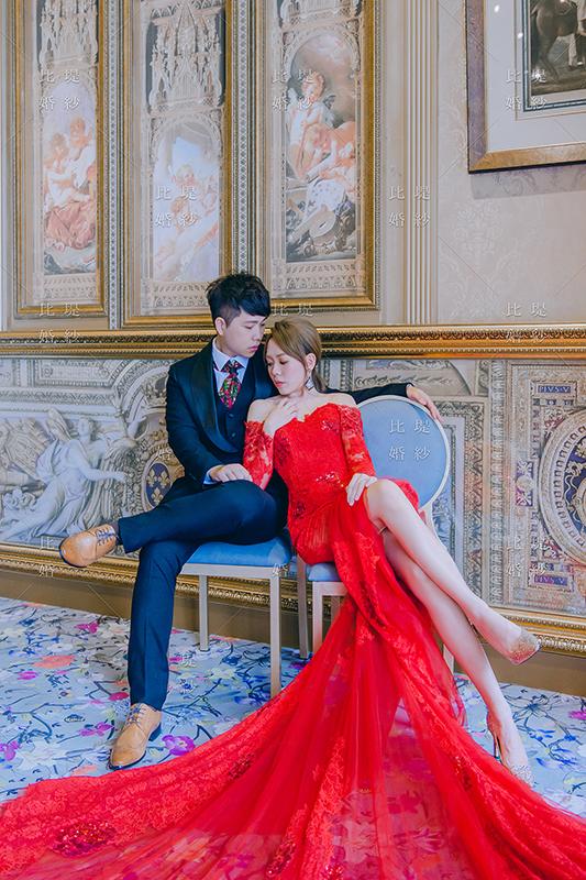 拍婚紗 比堤婚紗 推薦新人:惟惟&KiKi 新天地 紅色晚禮服