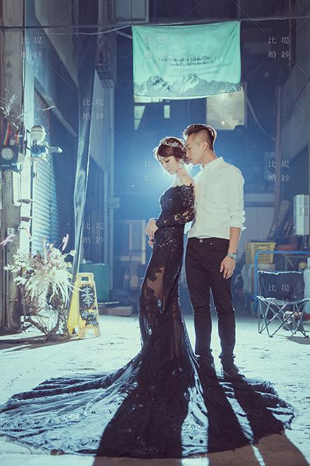 比堤婚紗 推薦新人:煜鈞&偉琪 透膚黑色蕾絲晚禮服