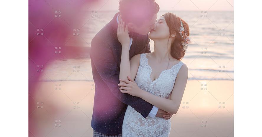 比堤婚紗 推薦新人:展陞&韻婷 海邊親吻