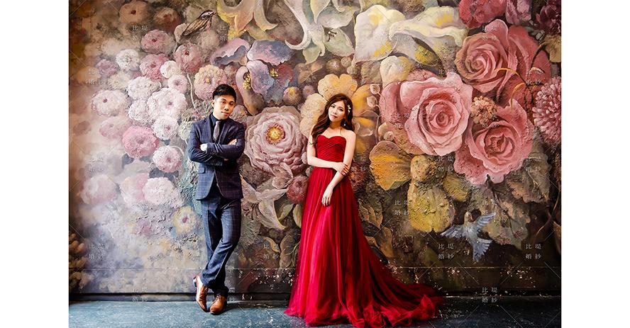 比堤婚紗 推薦新人:Mr. Chen&Mrs. Tsai 油畫花朵背景